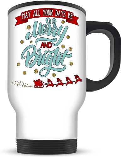 14oz May All Your Days Be Merry & Bright Christmas Aluminium Travel Mug